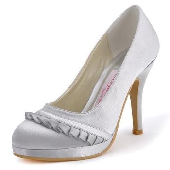 Wholesale & Retail Elegant Women Shoes EP41022-PF White,Ivory Round Toe Pleated Stiletto Heel Satin Wedding Evening Party Pumps