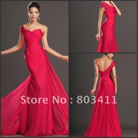 Free Shipping New Gorgeous Cheap One shoulder Court Tain Pleated Red Chiffon Evening Dress