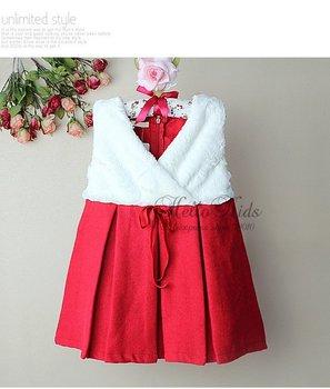 Chirstmas Winter Infant Girl Formal Dress With White Fur Girl Party Dress  4PCS/Lot Kids Princess Dress GD21019-13^^HK