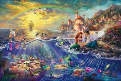 Thomas Kinkade (The Little Mermaid) oil paintings Art print fade resistant famous reproduction on canvas(China (Mainland))