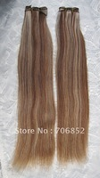 Super quality mix color 6/613 brown extensions remy non virgin brazilian hair aaaa soft natural straight hair weft 4pcs/lot 24