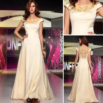 Dorisqueen Long Evening Dress 2014 Dress Party Evening A-Line Beaded Flower Evening Dresses Formal Dress Vestido De Fiesta 30703