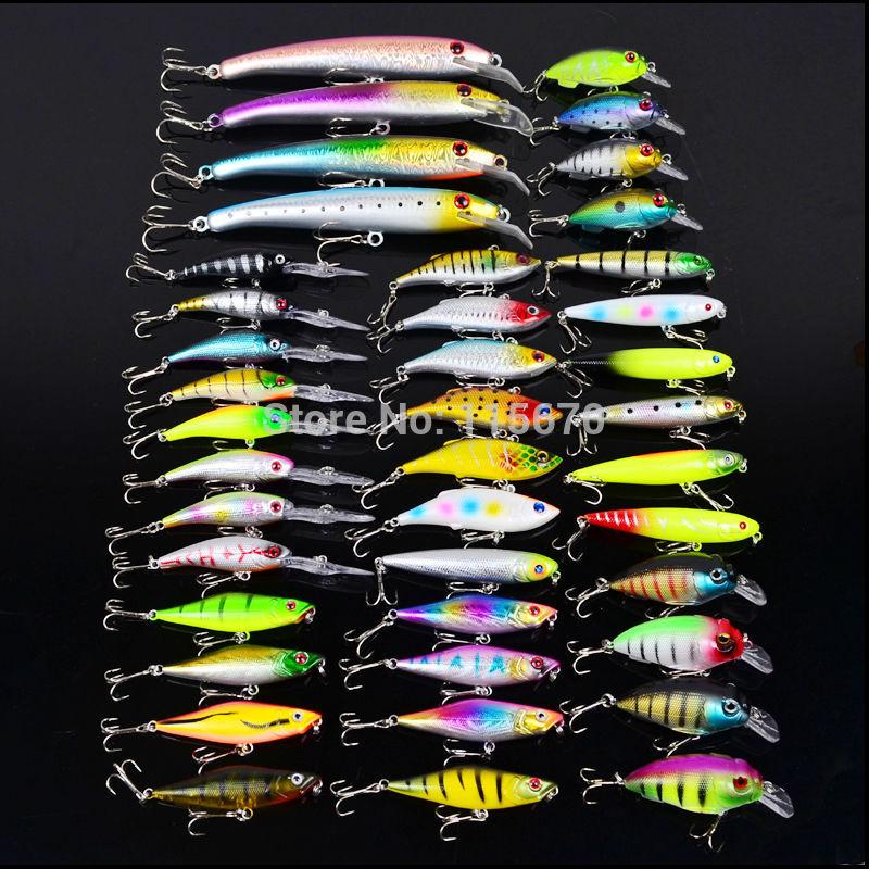 Hot 2015 41pcs/lot fishing lure Mixed 6 models or 41 color fishing tackle,Popper lures,Crank Lures,Mix fishing bait Free Ship(China (Mainland))