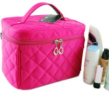 New Good Zipper Cosmetic Storage Make up Bag 4colors Handle Train Case Purse