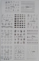 88 Designs Silver Metal Nail Stickers Water Decals 11pcs/Set  Big Sheet  Free Shipping