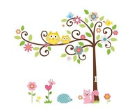"Free Shipping 68"" X 58"" / 172 X 147cm Owl Tree Wall Stickers & Wall Decal Removable Baby Decor DIY 2012"