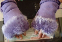 FEDEX FREE SHIPPING 50 Pairs Rabbit Fur Gloves Woman Fingerless Keyboard Gloves Half Finger Office Gloves G0006