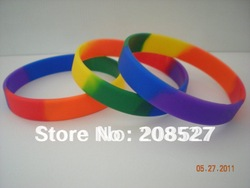 Rainbow colour Pride silicon bracelet, Custom design wiristband,promotion gift, 202mm,100pcs/lot, free shipping(China (Mainland))