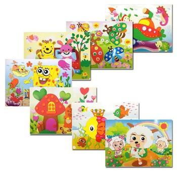 5pcs Animal Cat Mickey Kids EVA handmade DIY Children Sticker 3D Puzzles Toys art three-dimensional Painting Christmas Gift