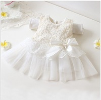 New 2013 12M-4t baby girls dresses children clothing cotton ball gown dress kids bow lace princess clothes pink white 4pcs/1lot