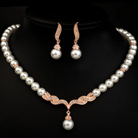 Italina Red Apple 18K Gold Plated Imitation Pearl Jewelry Set