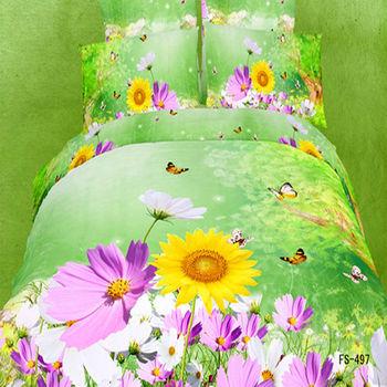 FS-497 Flower oil painting 4pcs bedding set 3D bedclothes bedsheet bed linen sets 100 Cotton Duvet/Quilt cover King queen size