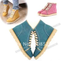 2014 New PU Leather Lace Up Fur Warm Ladies Ankle Martin Boots Flat Shoes Snow Boot Winter Snow 8107