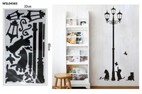 Free Shipping HL-1543 34*68cm  Lamp Cats and Birds  Wall Sticker Wall Mural Home Decor Room Kids