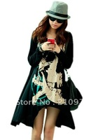 free shipping 2013 women autumn new fashion plus size loose skull print long design t shirts tops ladies sexy mini dress 289