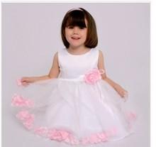 2013 New Fashion Petal Girls Dresses Princess Dress Pink / White Baby girl dress Toddler Dress freeshipping(China (Mainland))