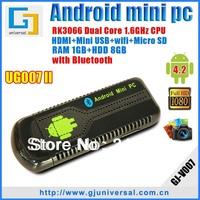 Freeshipping android 4.2 mini pc UG007II with bluetooth Dual Core rockchip rk3066 cortex a9 mini pc IPTV HDMI wifi dongle