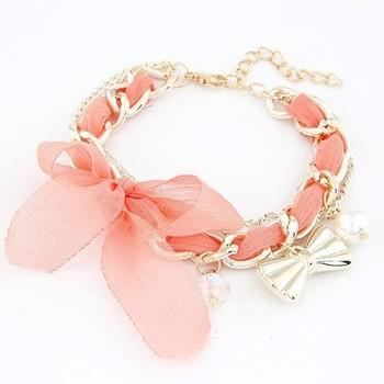 Fashion Korea lace woven bowknot bracelet wholesale free shipping Ribbon woven chain bracelet jewelry for women 2014 PT36