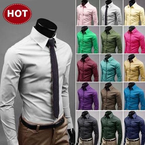 2014 Mens Slim fit Unique neckline stylish Dress long Sleeve Shirts Mens dress shirts 17colors ,size: M-XXXL 6492(China (Mainland))