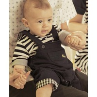 Popular baby suit/Stripe top with shinning stars+ baby romper with a pocket /2012 Popular New Arriver