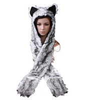 2012 Fashion Winter Animal Hat wolf Cartoon Winter warm Hat set Mulifunctional (hat + earmuff + scarf + glove)