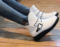 Qiu dong white rivet boots knight  Short boots