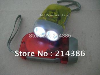 Hand Crank Squeeze Flashlight,No Battery,2 LED Dynamo Flashlight 2pcs/lot  Free Shipping
