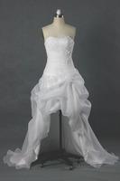 Wholesale RW223 New Fashion Front Short And Long Back White Beaded Organza Beach Wedding Dress 2013