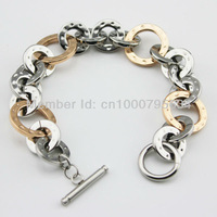 Polished Fully  & Rose Gold Plating Anti-allergic 316L Stainless Steel Bracelet TGB013