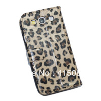 Wallet PU Leather Case Cover For Samsung Galaxy S 3 III Leopard Pattern Design Case for GALAXY I9300