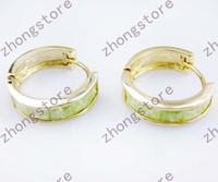 Fashion apple peridot Ice zirconium 14KT yellow gold filled Earrings studs gift Zircon earrings for women