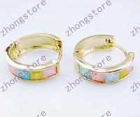 Fashion Ice zirconium 14KT yellow gold filled Earrings studs Zircon earrings circle round earrings