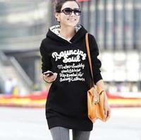 Plus Large Size M-5XL Fashion Letter Long Loose Fleece Thick Women's Hoodies/Pullover/ Sweatshirt