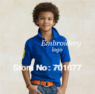 5#0819 aged 7 - 10 15 colors short sleeve branded cotton children shirt with embroidery kids wear