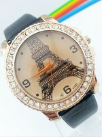 Free Shipping fashion womens watch  Effiel tower watch with diamond colorful watchband  leather strap Paris watch  promotion 1PC