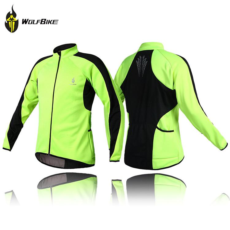 Wolfbike molletoné thermiquethermique cyclisme, maillot manches longues hiver, sports de plein air vent vent manteau veste cycle vélo porter des vêtements