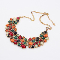 Summer Dressing Party Hot Sale New Style Golden Long Chain Handmade Colorful Beads Broad Pendant Multi Chains Bib Necklace