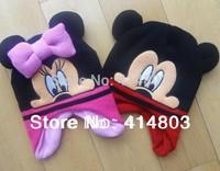 Wholesale 2-7Y Kids Autumn/Spring Minn**ie/ M*icke*y Earflap Warm Hats, Children's Christmas Gift Cap Girls Beanies 3pcs/lot