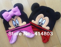 Wholesale 2-7Y Kids Autumn/Spring Minnie/ Mickey Earflap Warm Hats, Children's Christmas Gift Cap Girls Beanies 3pcs/lot