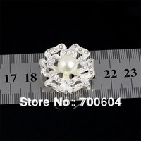 High Quality Fashion Flower Shape Shank Imitation Pearl Rhinestone Alloy Wedding Garment Buttons, wholesale