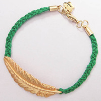 Min Order US$15 for Store Mixed Item Multi Color Braided Rope Sideway Alloy Feather Bracelet B490