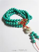 BRO654 Buddhist 108 Green Turquoise Meditation prayer beads Mala Necklace 6mm Girls Summer stone beads lotus beaded bracelet