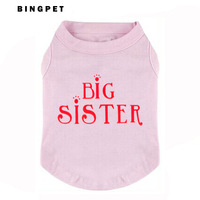 "Free Shipping (12pcs/lot)""BIG SISTER "" Designs Printed Dog T shirt 4 colors mixed"