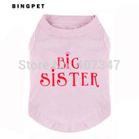 """Free Shipping (12pcs/lot)""""BIG SISTER """" Designs Printed Dog T shirt 4 colors mixed"""