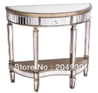 french design mirrored furniture with half round shape table for bedroom