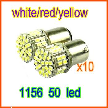10pcs/lot super bright LED  brake light  S25 BA15S 1156 1206  50SMD   white,red,yellow 12v