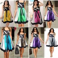 Free shipping Hot Sell 7 Colors women elegant stripe party evening boho ball gown satin empire knee-length dress Size:M L XL XXL