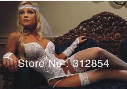 With Stocking Women sexy white bridal Lingerie Sets Wedding langerie Garter Belt Gothic Transparent Erotic Sleepwear Intimates(China (Mainland))
