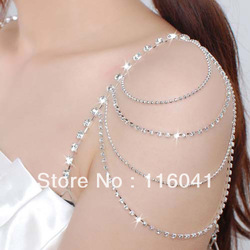 Rhinestone Crystal wedding bridal jewelry bridal crystal bra metal crystal wedding dress tassel strap party dress strap(China (Mainland))