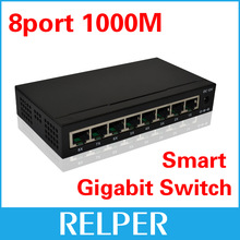 8 Port 10/100/1000M Base Gigabit Ethernet Network Switchs high performance Smart Gigabit Switch 8 Port  EU/US plug FreeShipping(China (Mainland))